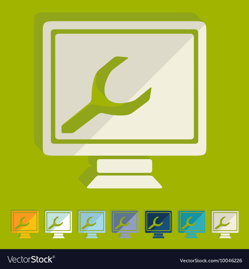 Flat design computer service