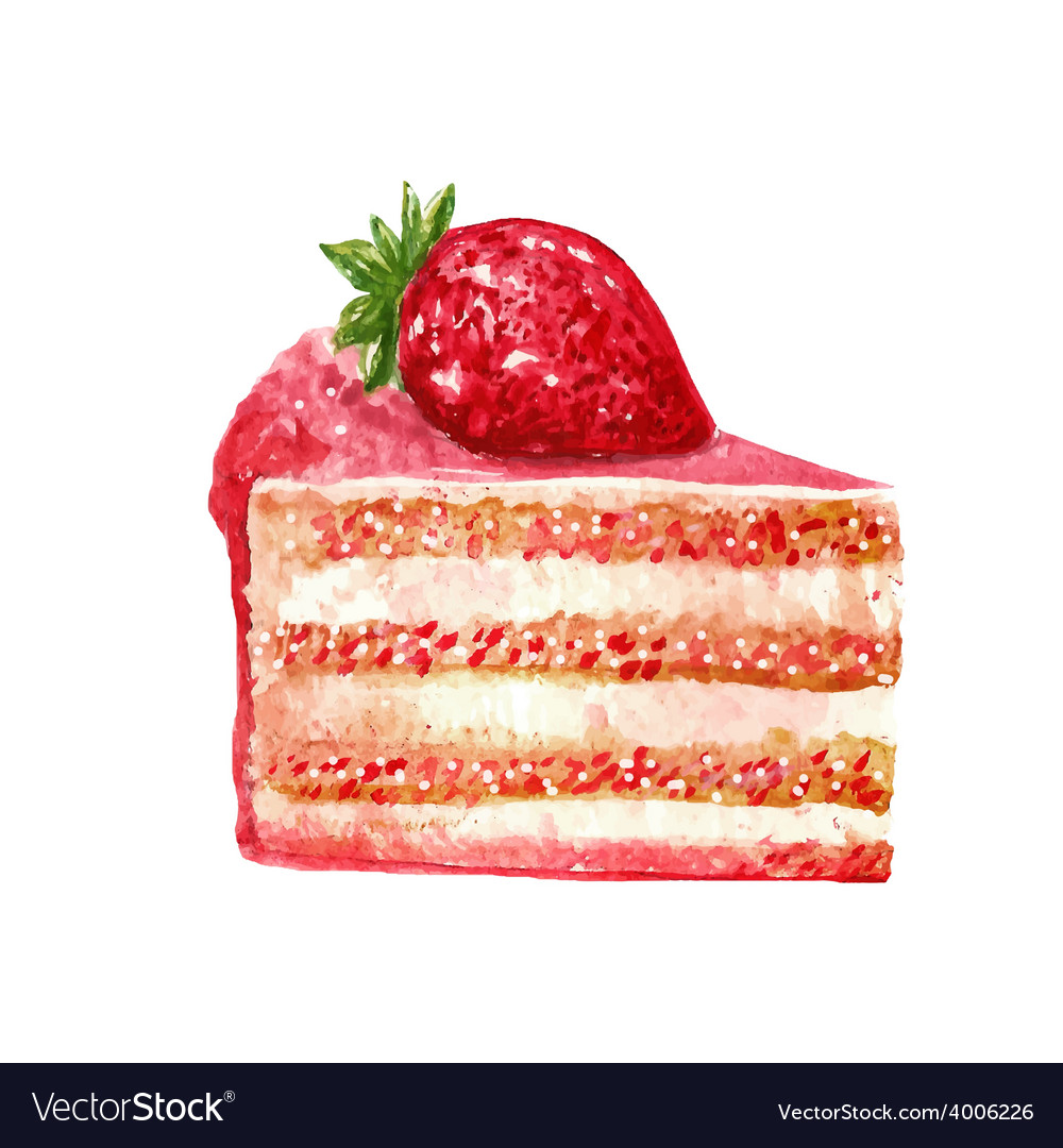 Hand drawn slice of cake watercolor style vector image