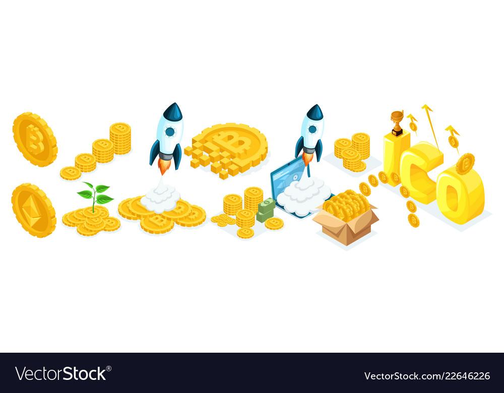 Isometric investors ico blockchain concept