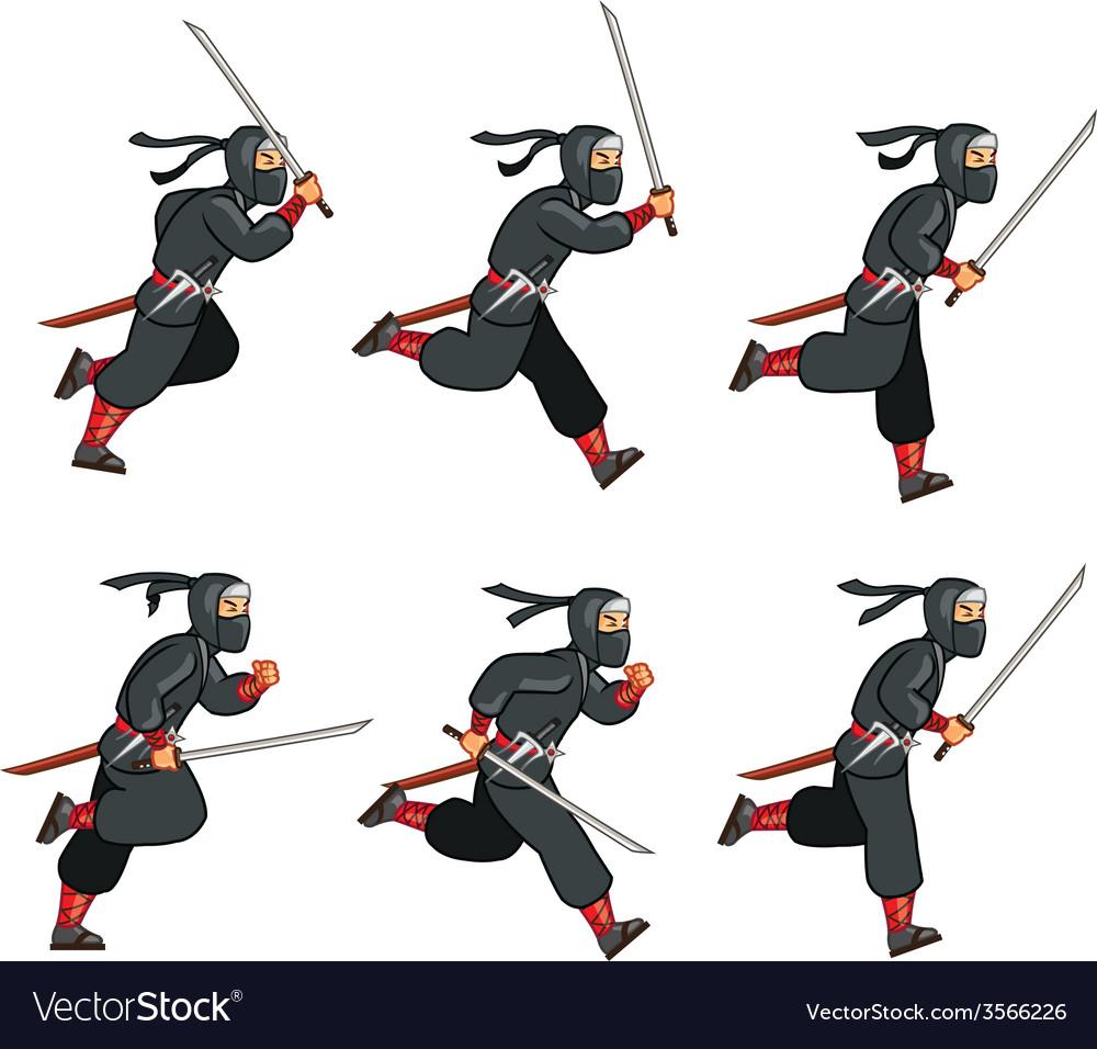 Ninja Running Game Sprite vector image