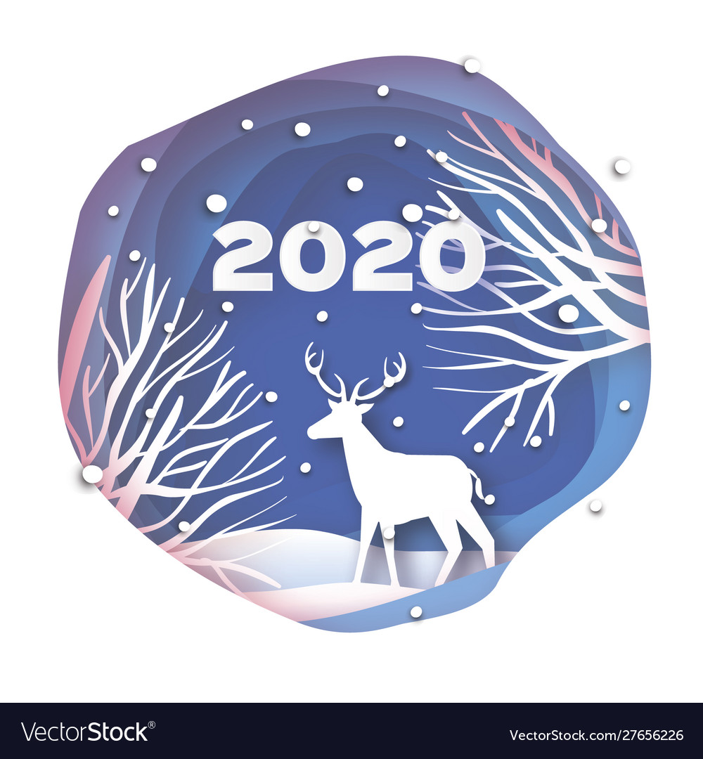 Paper cut deer in snowy forest and landscape