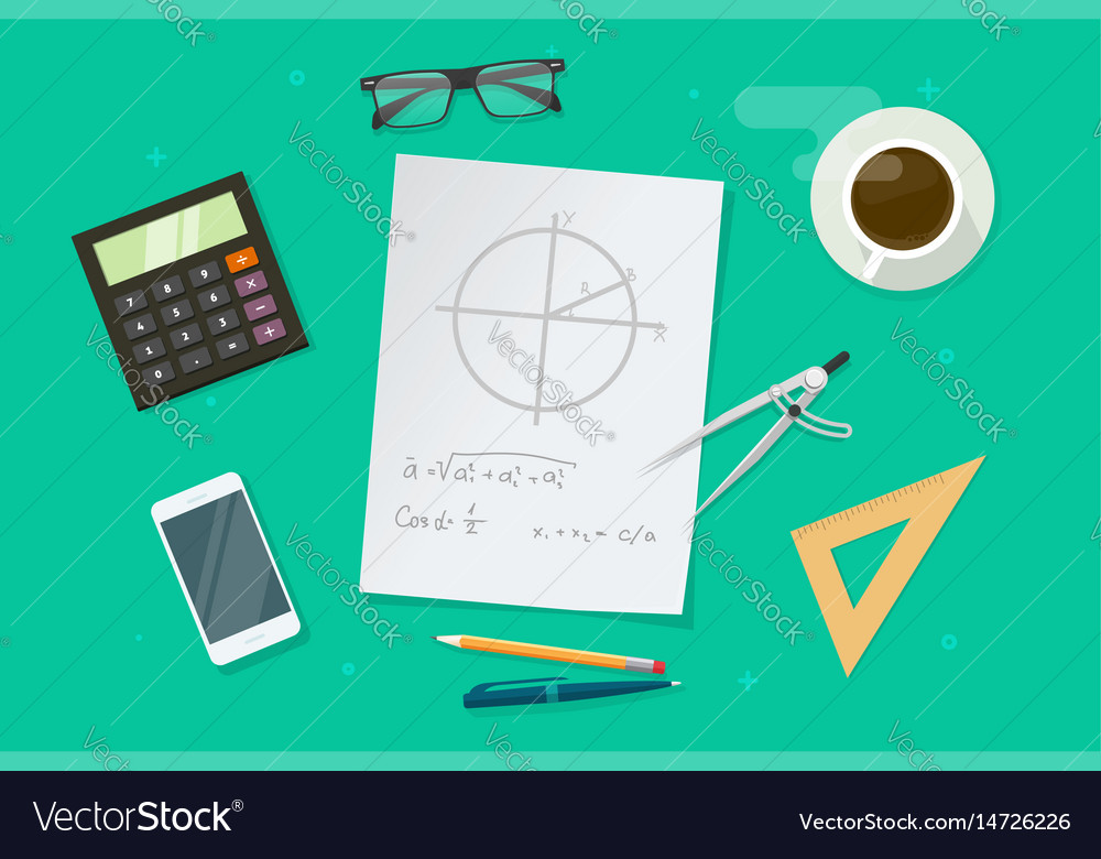 Paper sheet with geometry math formulas and Vector Image