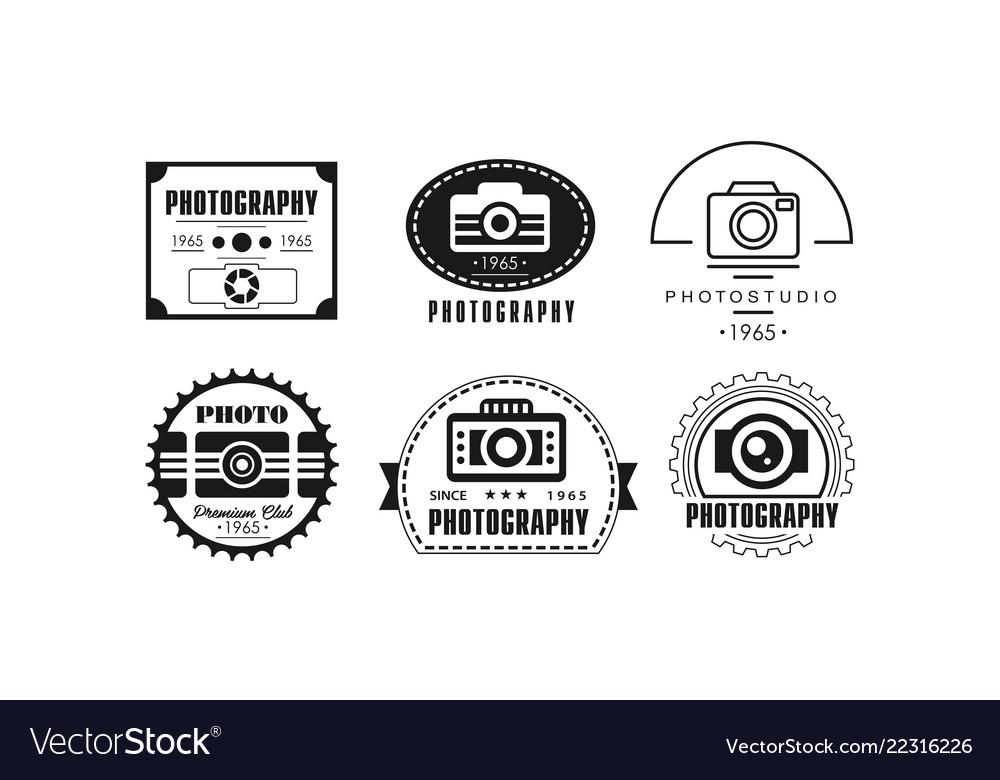 Photo studio logo set photography black badge
