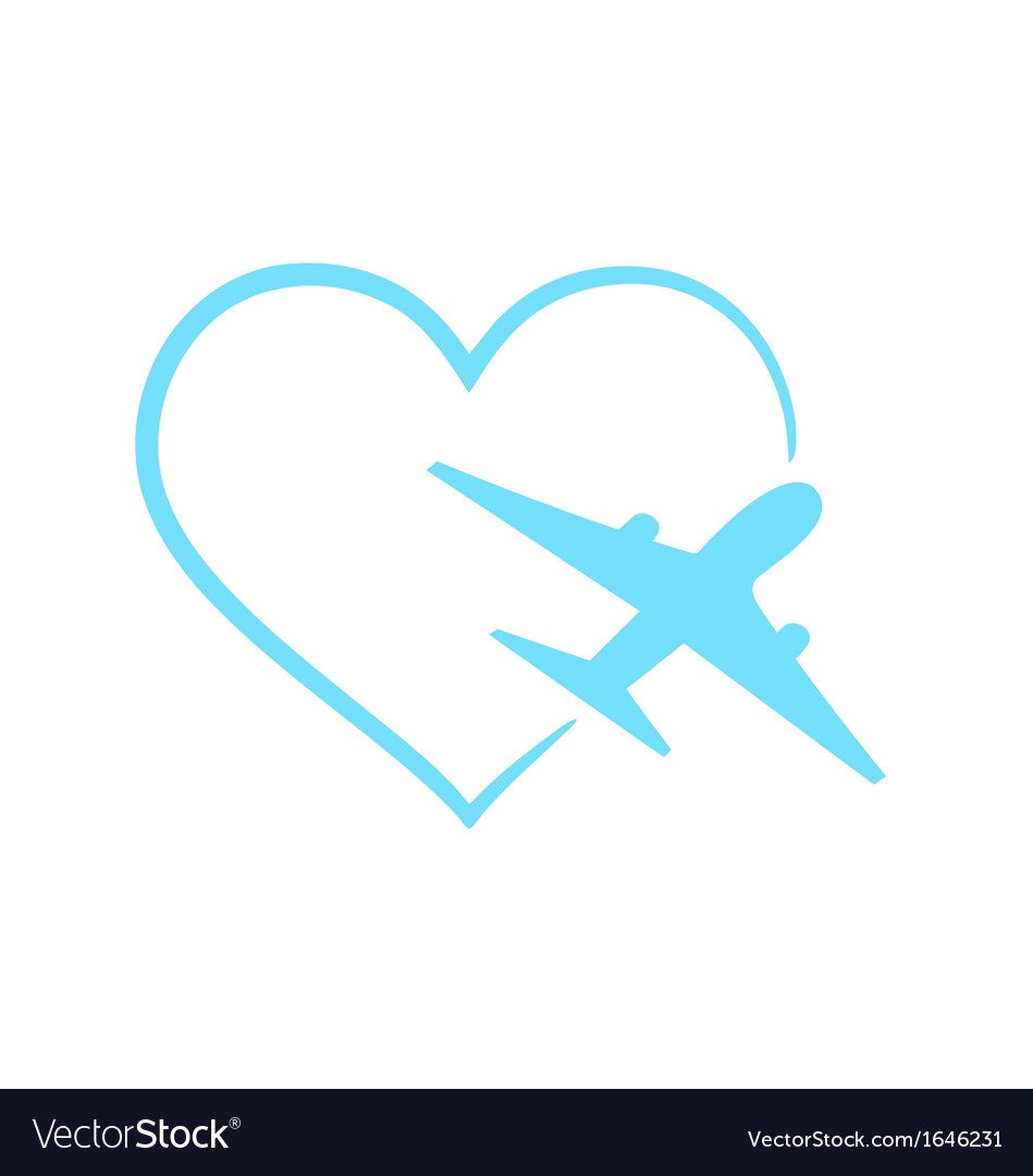 Airplane Symbol In Shape Heart Royalty Free Vector Image