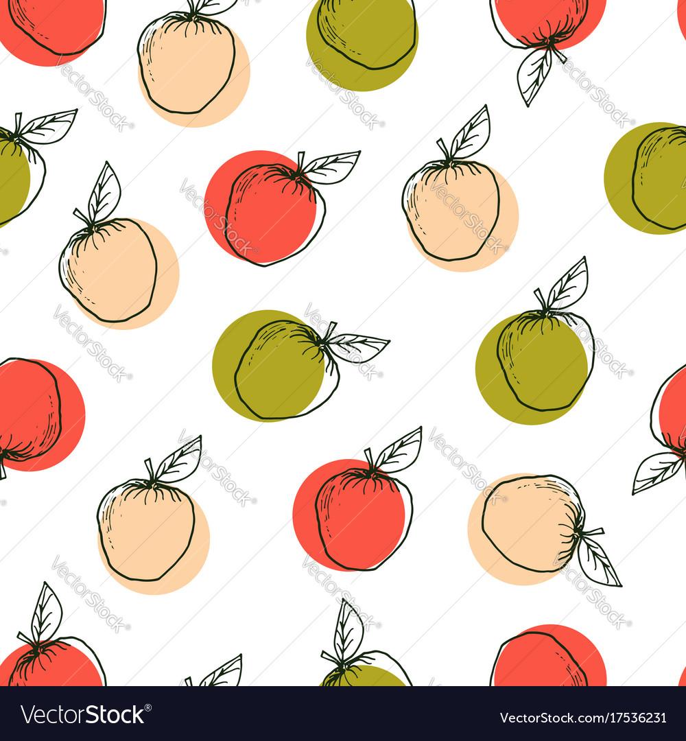 Apple hand drawn seamless pattern
