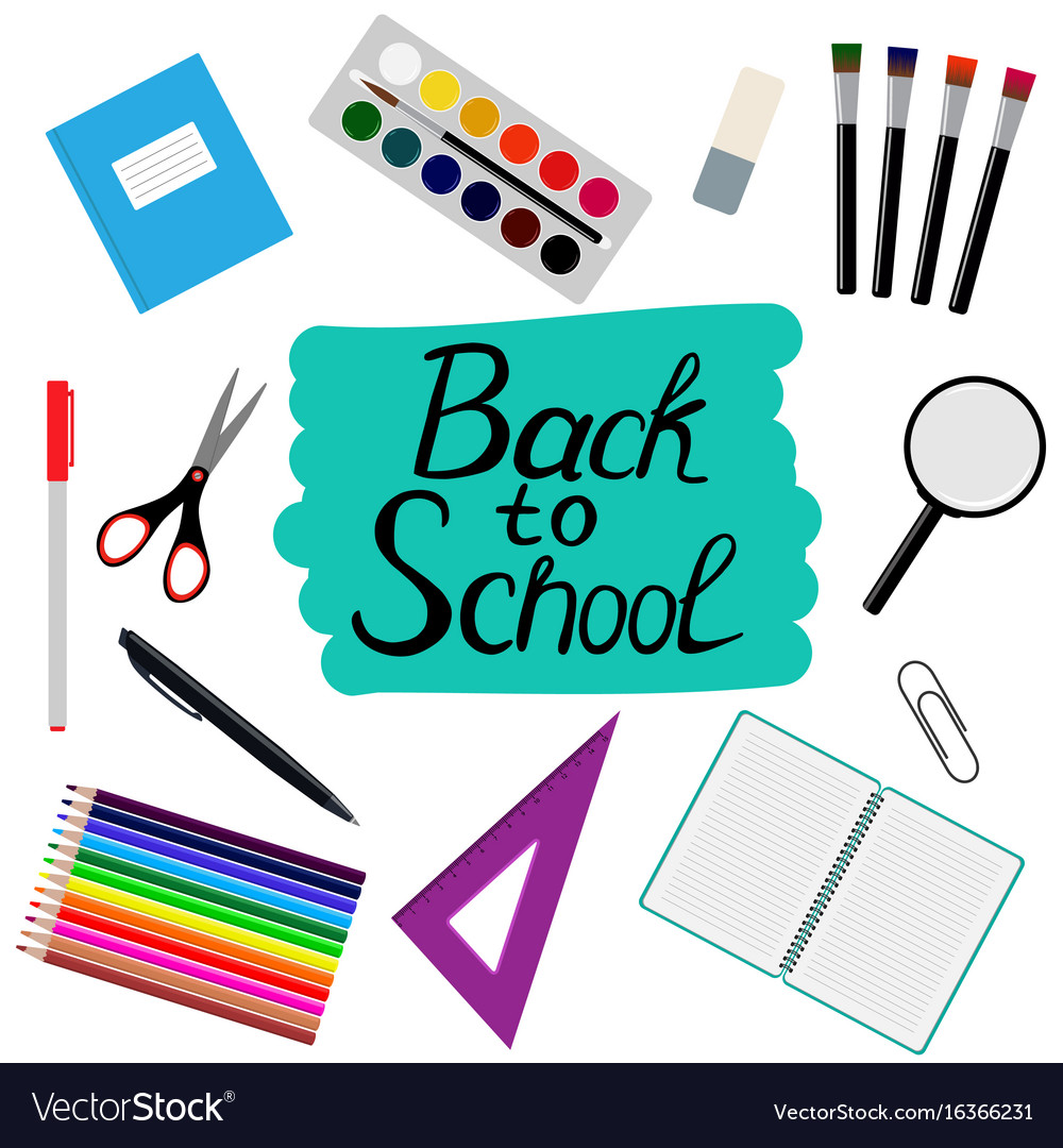 Back to school design set of school supplies with