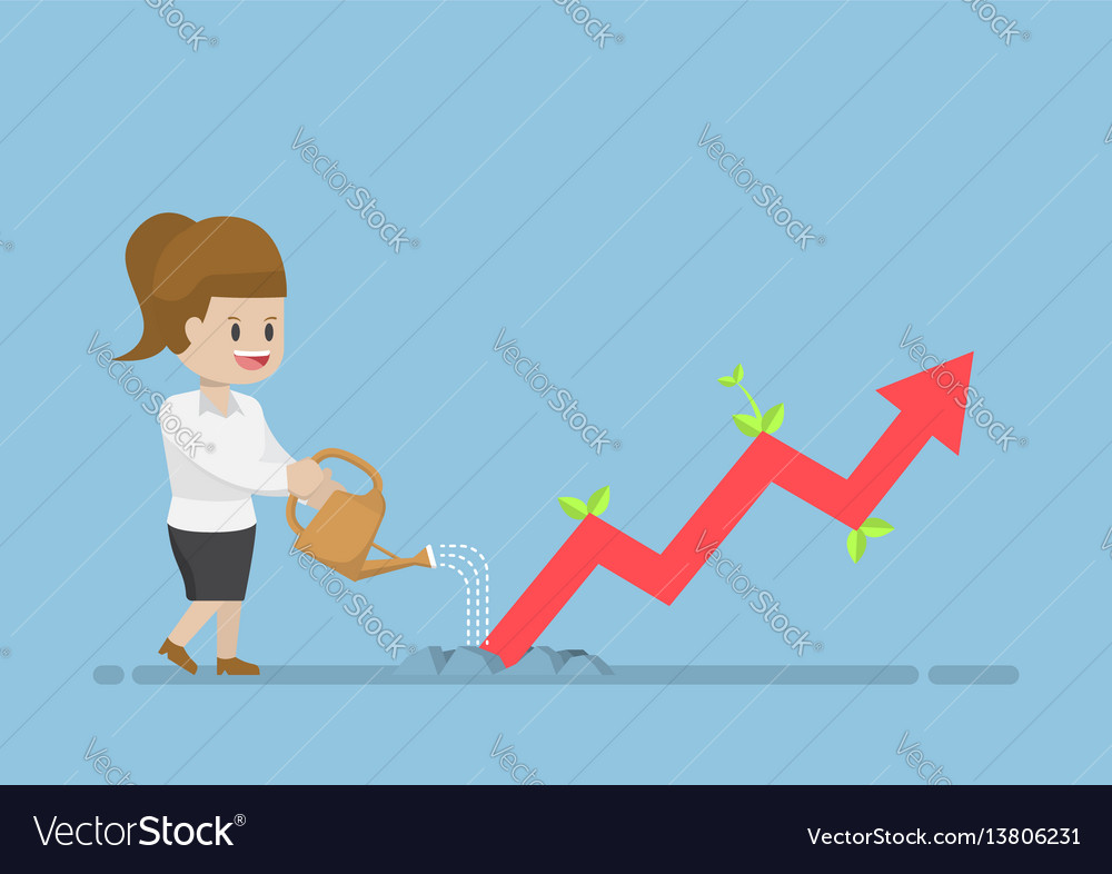 Businesswoman watering business graph that growth