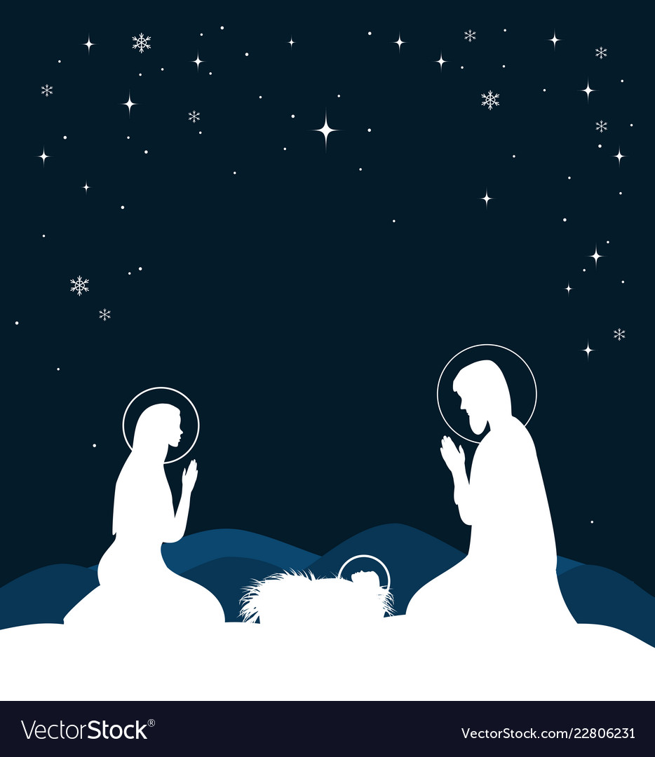 Christian Christmas.Christian Christmas Scene With Birth Of Jesus And