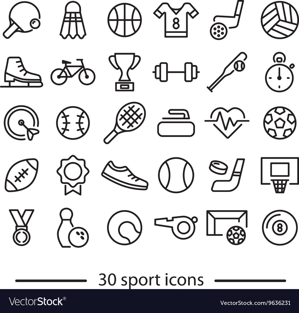 Collection of sport line icons