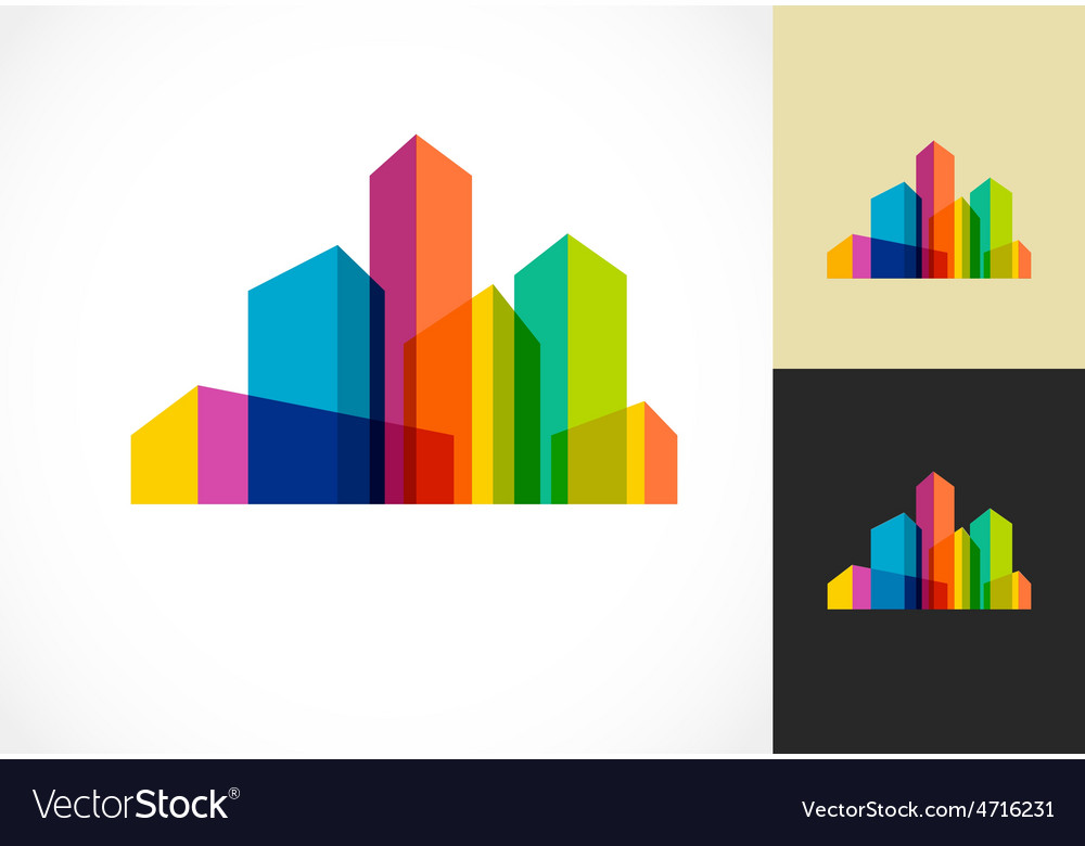 Colorful real estate city and skyline icon