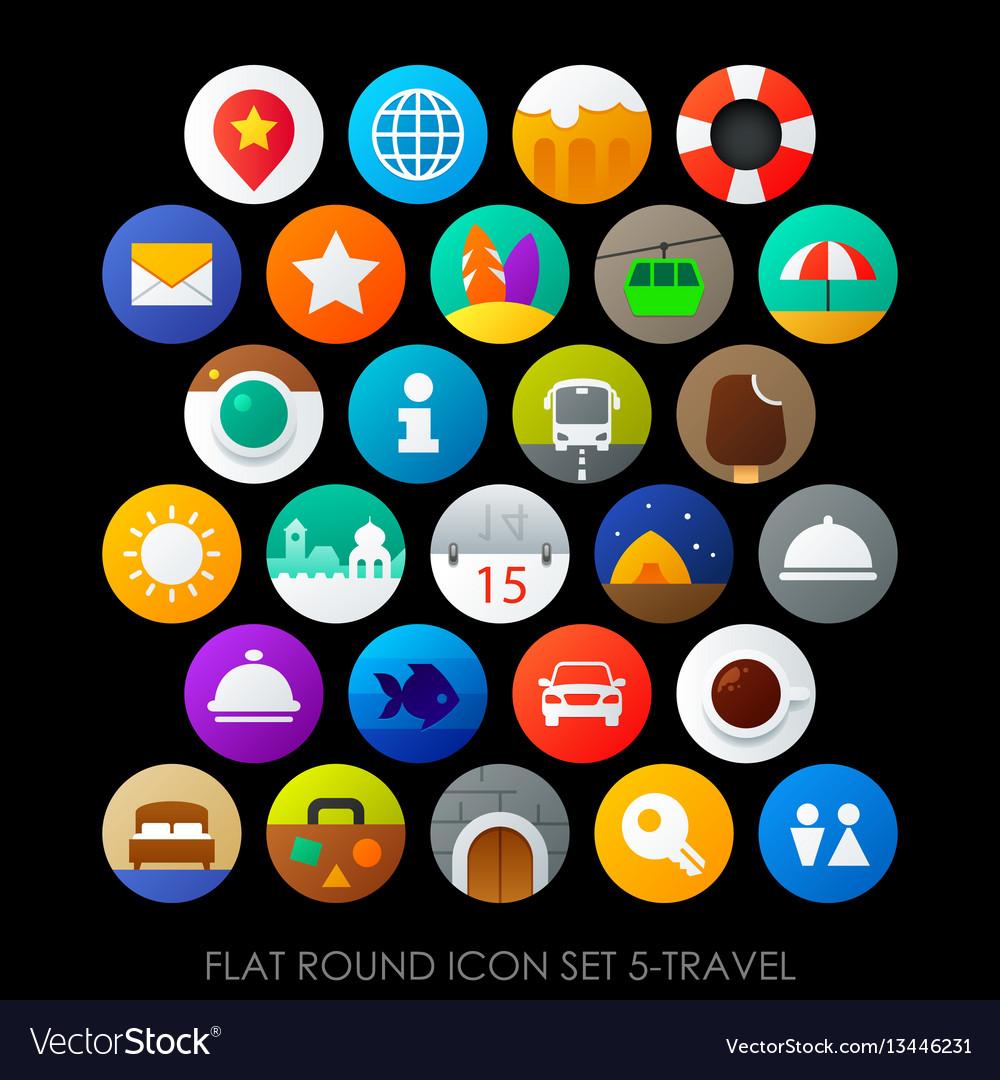 Flat round icon set 5-travel