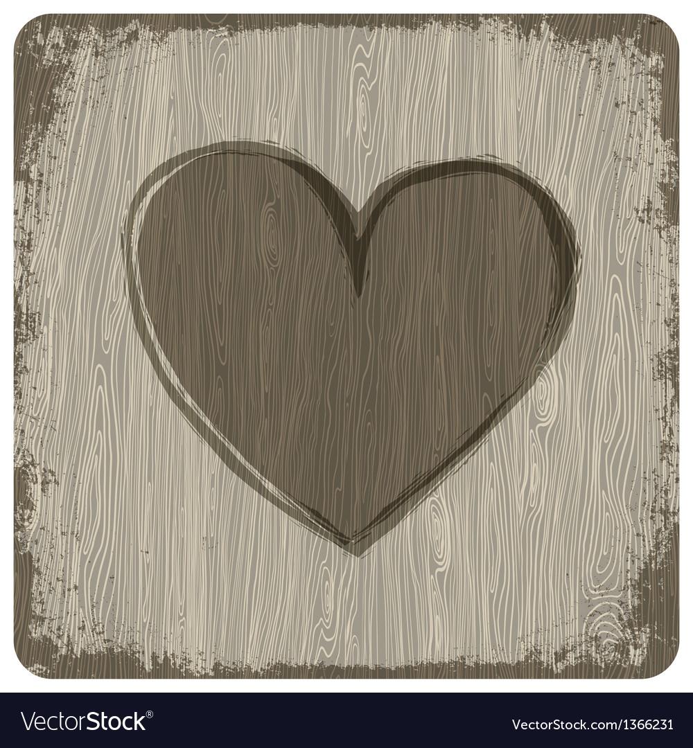 Heart on wooden texture vector image