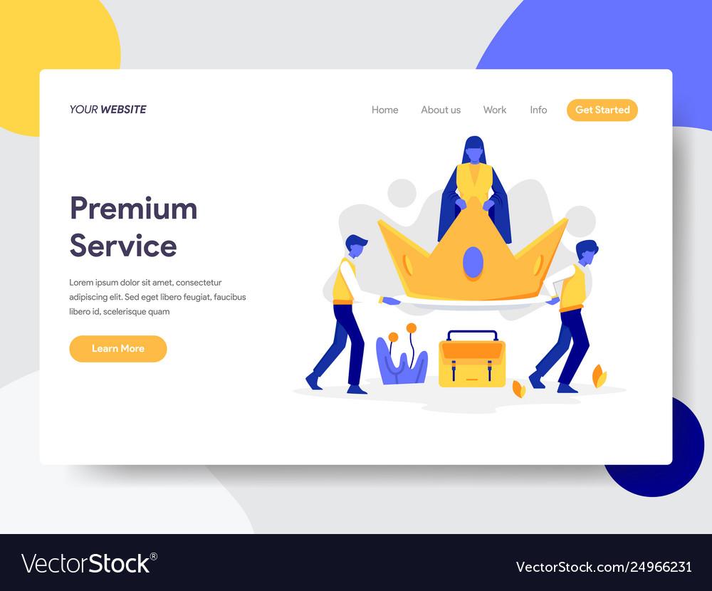 Landing page template premium service concept