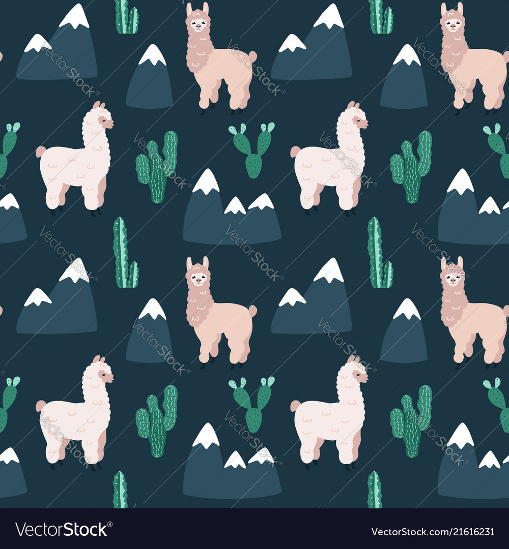 Modern seamless hand drawn pattern with alpacas