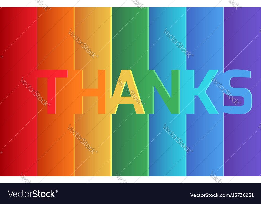 Rainbow thank you origami paper layer card