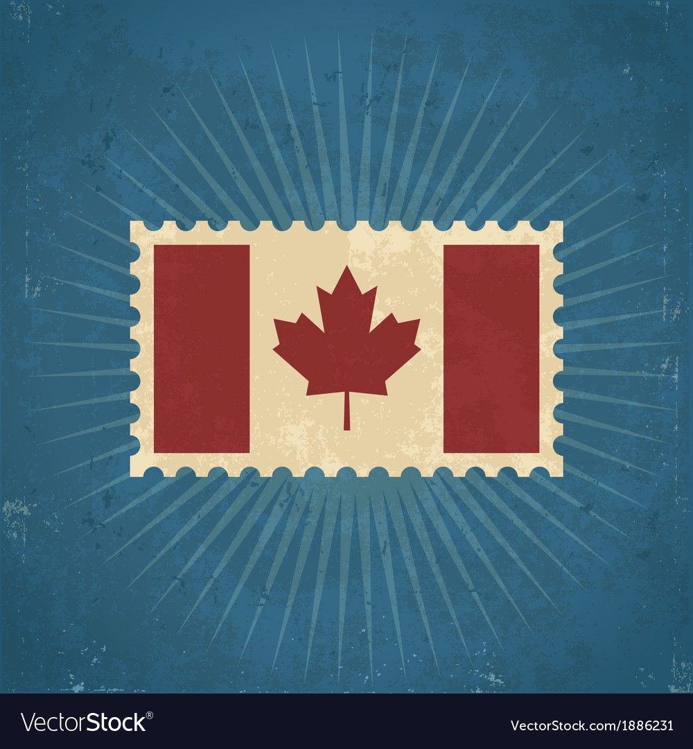 Retro Canada Flag Postage Stamp