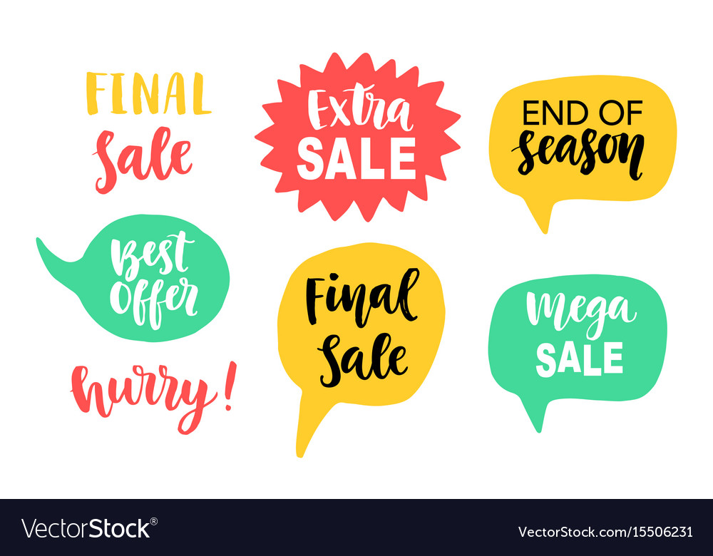 Sale banner template elements with hand lettering