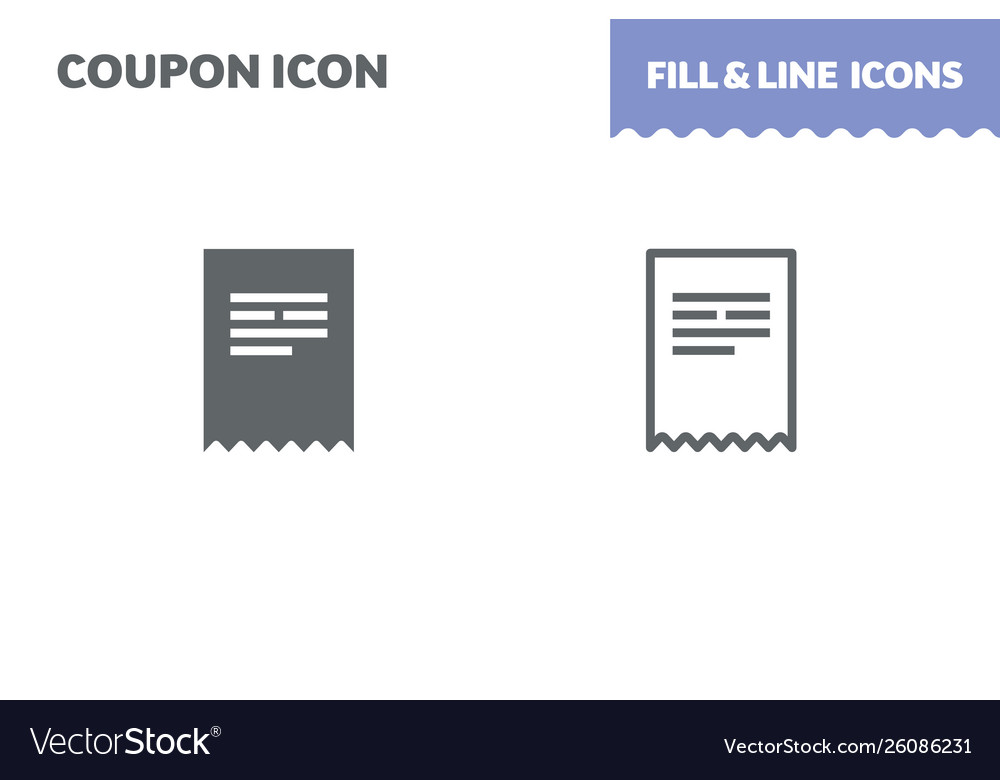 Ticket icon fill and line flat design ui
