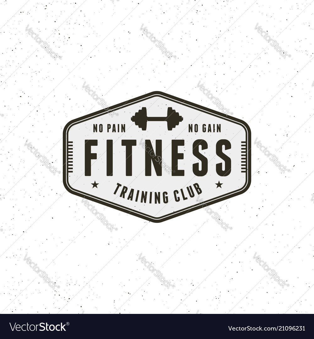 Vintage fitness gym logo retro styled sport vector image