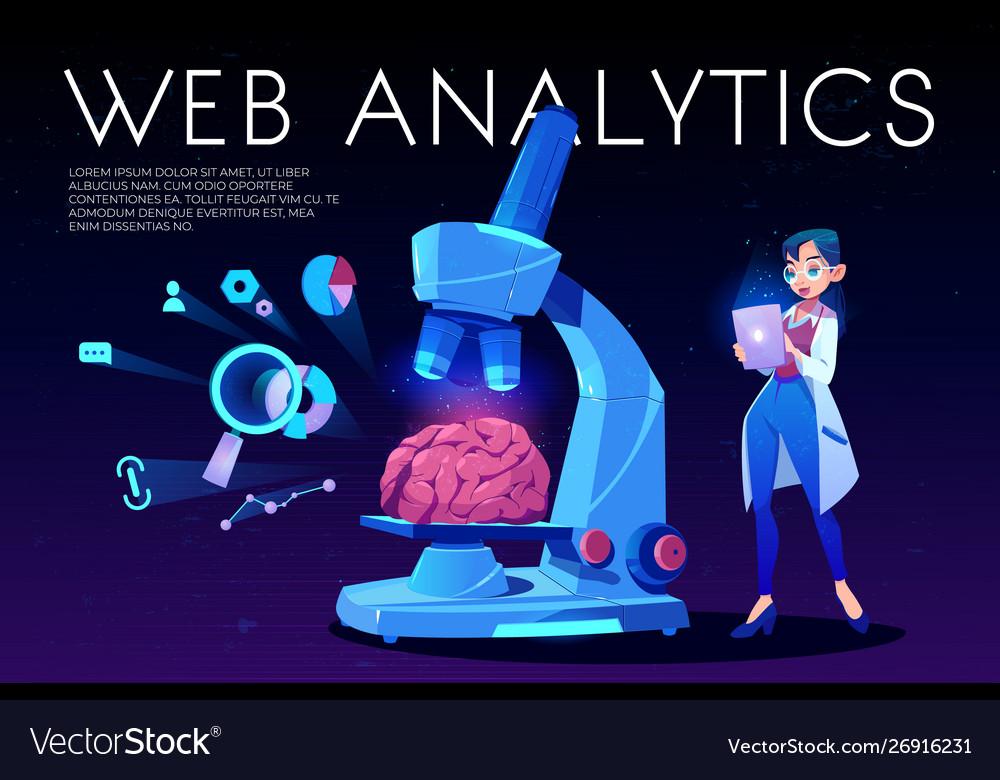 Web analytics landing page brain and seo icons