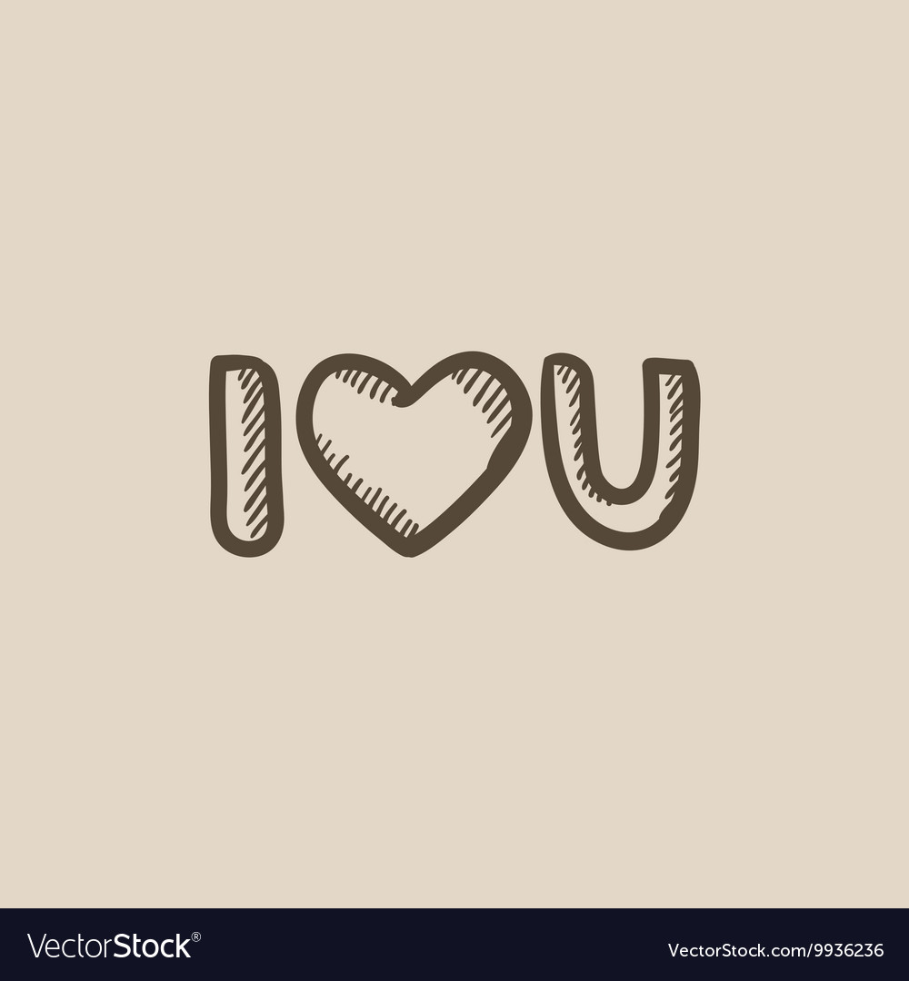 Abbreviation i love you sketch icon