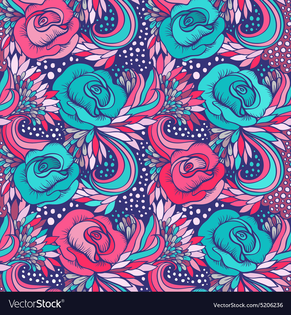 Abstract decorative vintage vivid wave and flowers