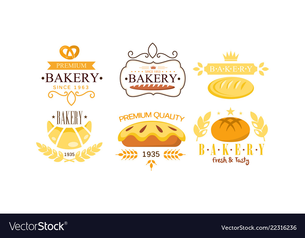 Bakery premium logo set bakehouse retro badge