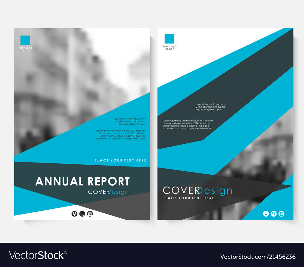 Blue annual report cover design template with