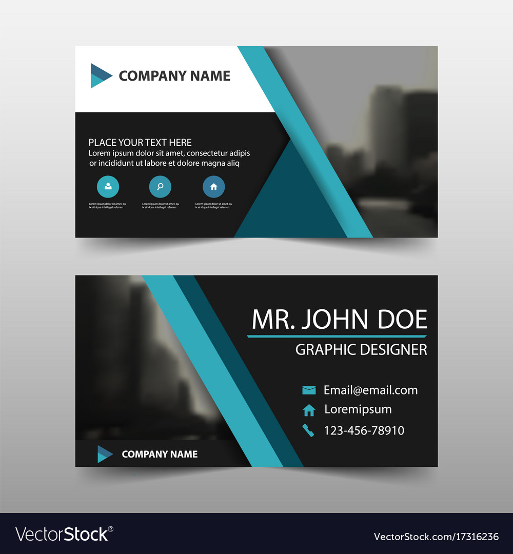 Blue triangle corporate business card name card vector image reheart Images