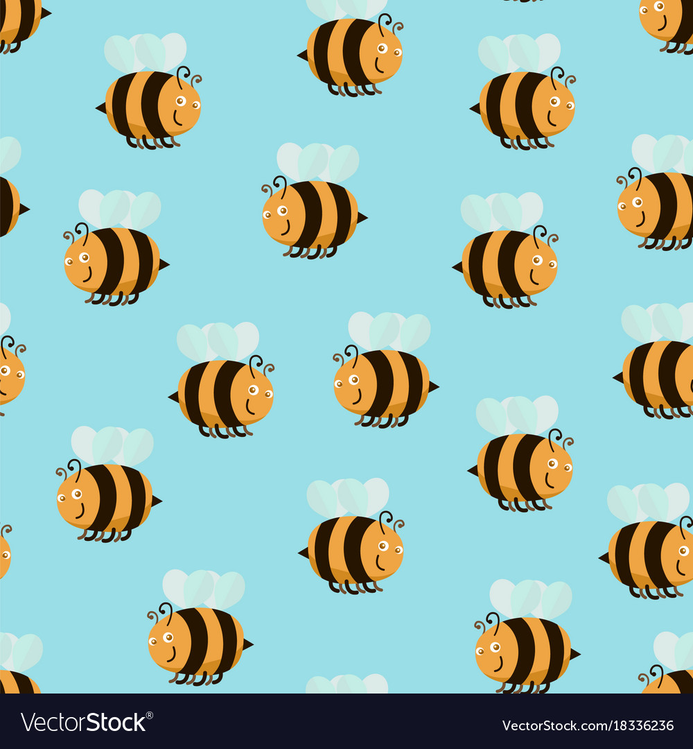 Cartoon color bee background pattern Royalty Free Vector