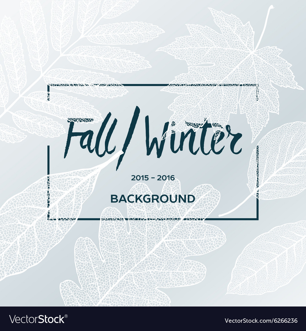 Fall Winter sale poster with leaves background
