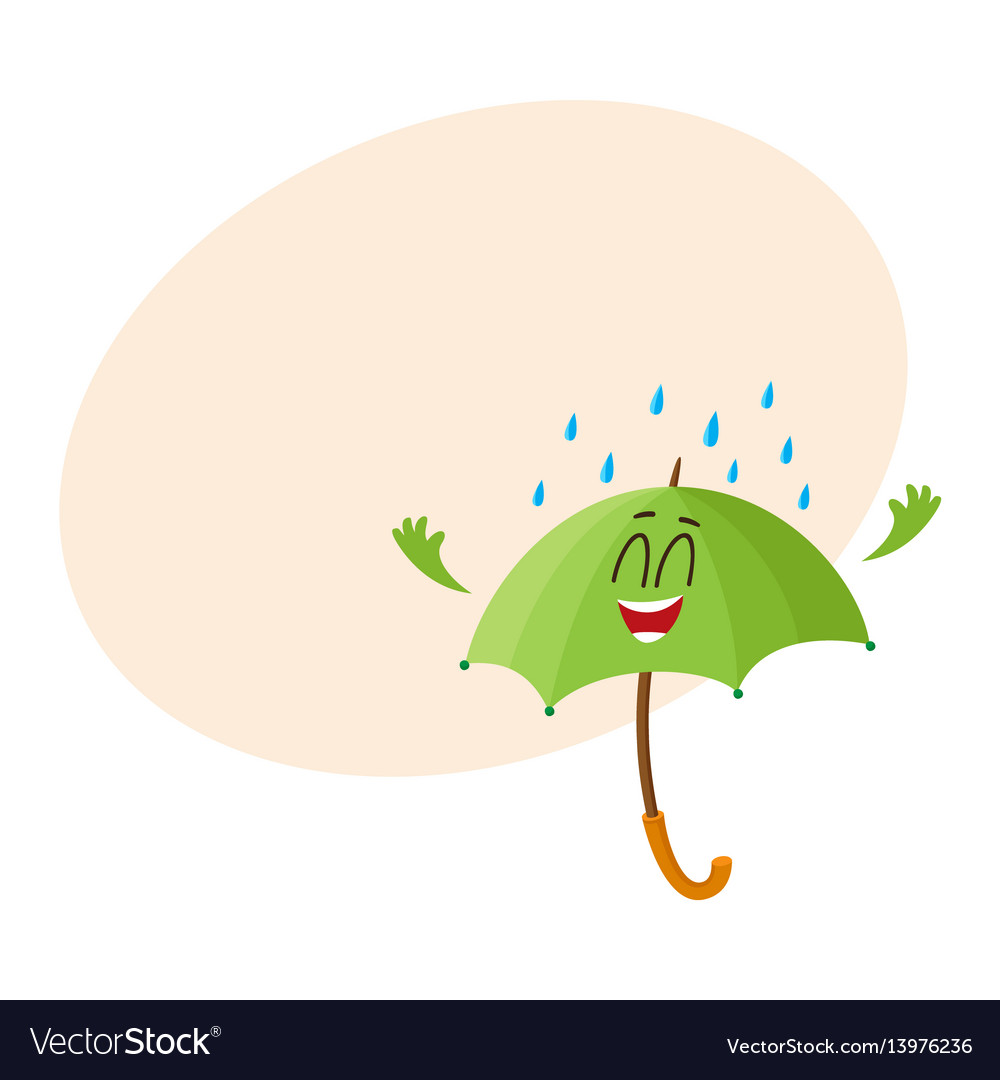 Funny green umbrella character with smiling human
