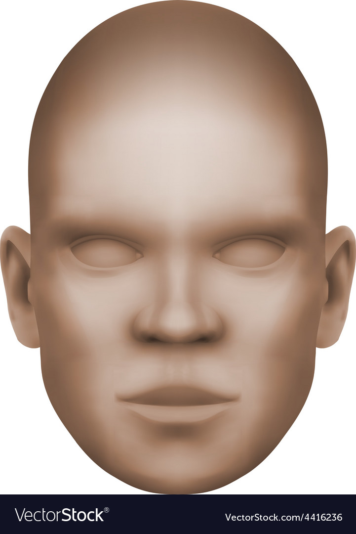 Imaginary human face isolated three-dimensional