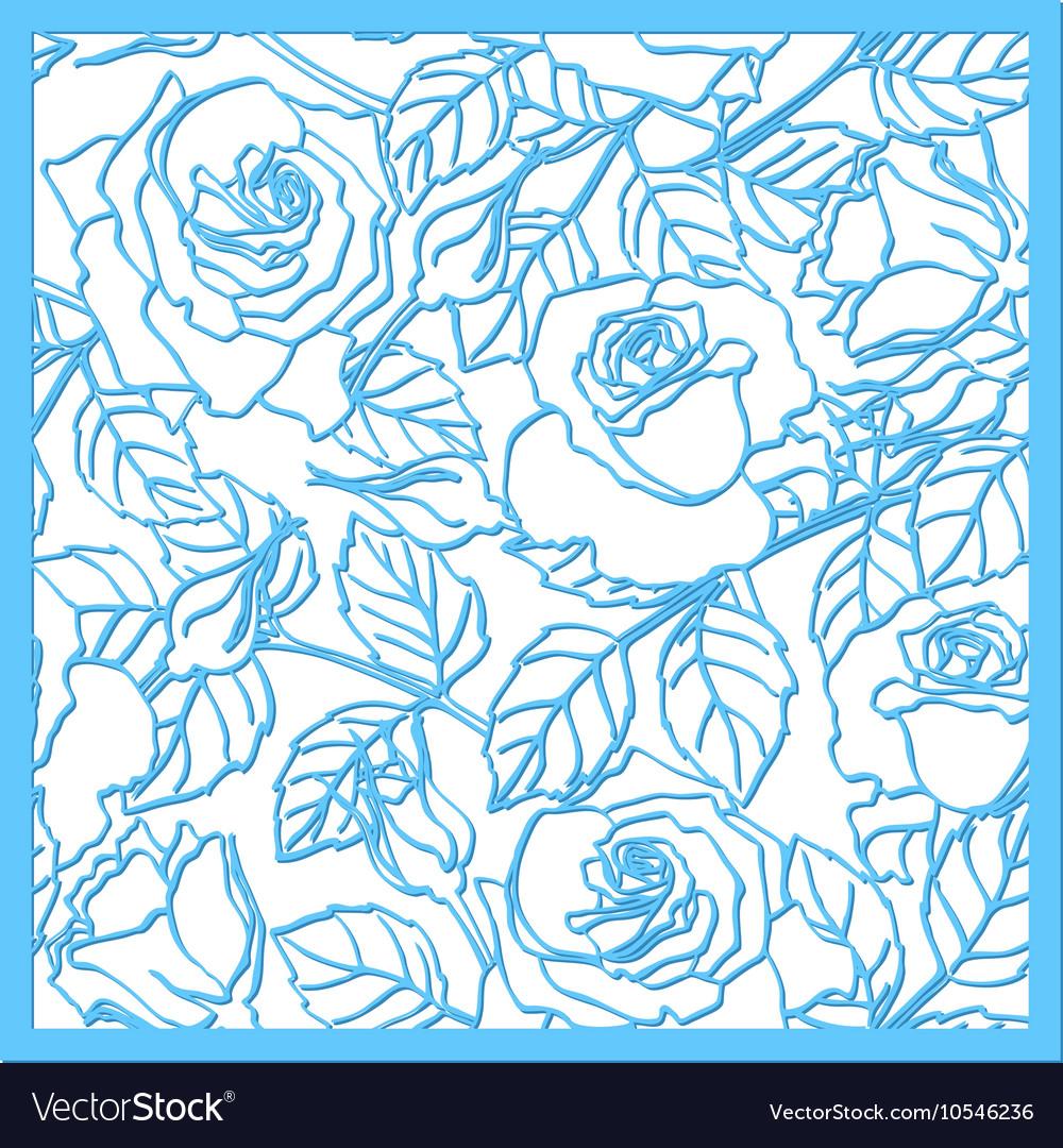 laser cut rose ornament cutout pattern royalty free vector