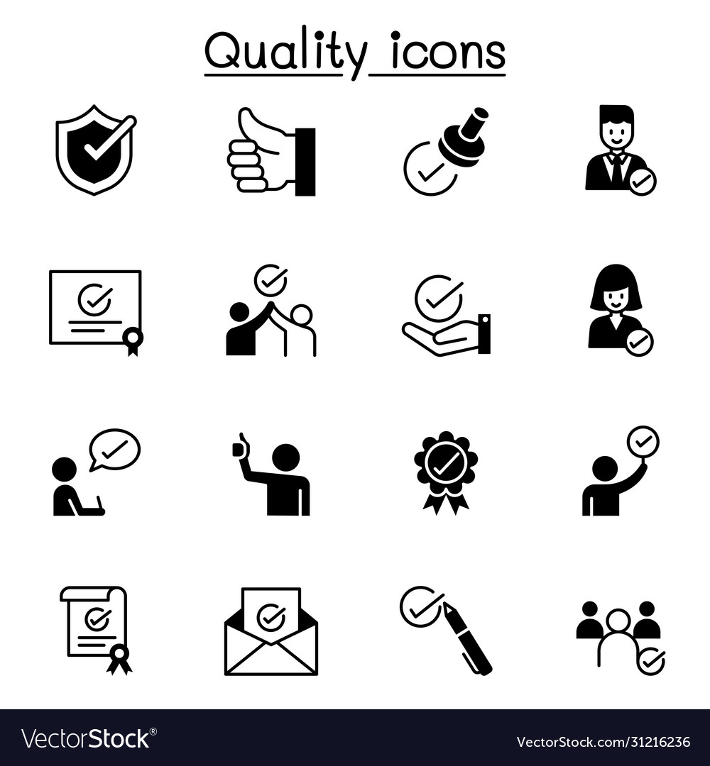 Quality approved check mark icons set graphic