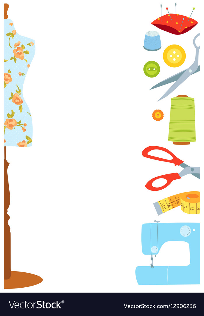 Sewing background border vector image