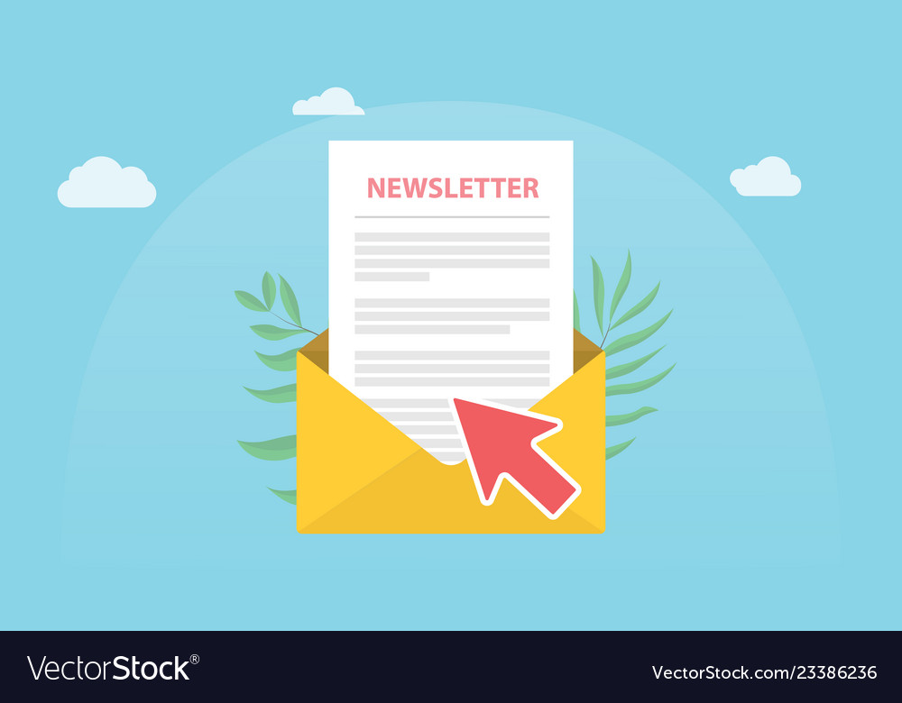 Subscribe newsletter concept isolated with news