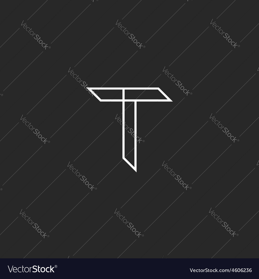 T letter mockup logo in thin lines graphic design vector image