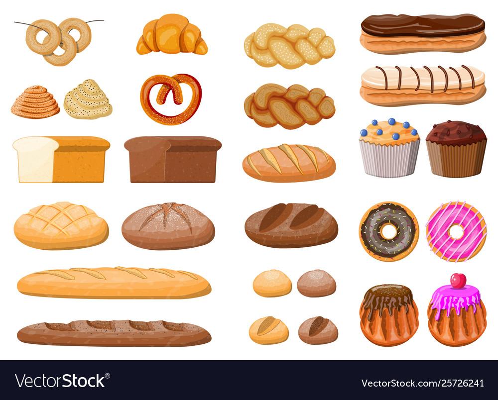 Big bread icons set