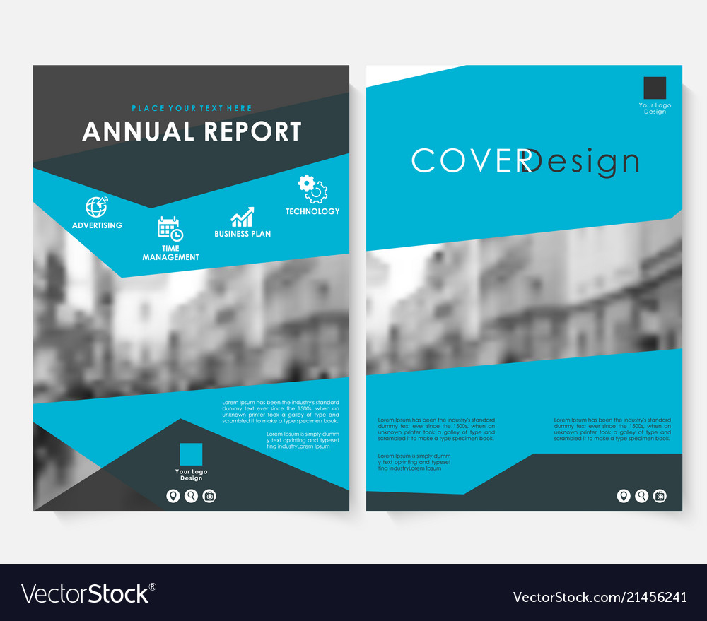 Blue marketing cover design template for annual