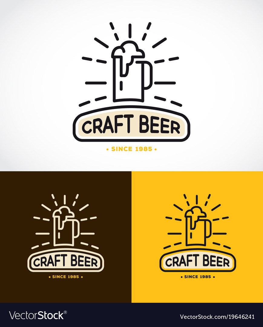 Craft Beer Line Graphics Monogram Royalty Free Vector Image