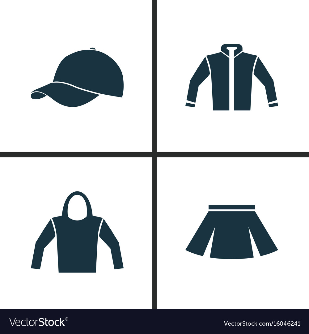 878c907e Dress icons set collection of sweatshirt trilby Vector Image