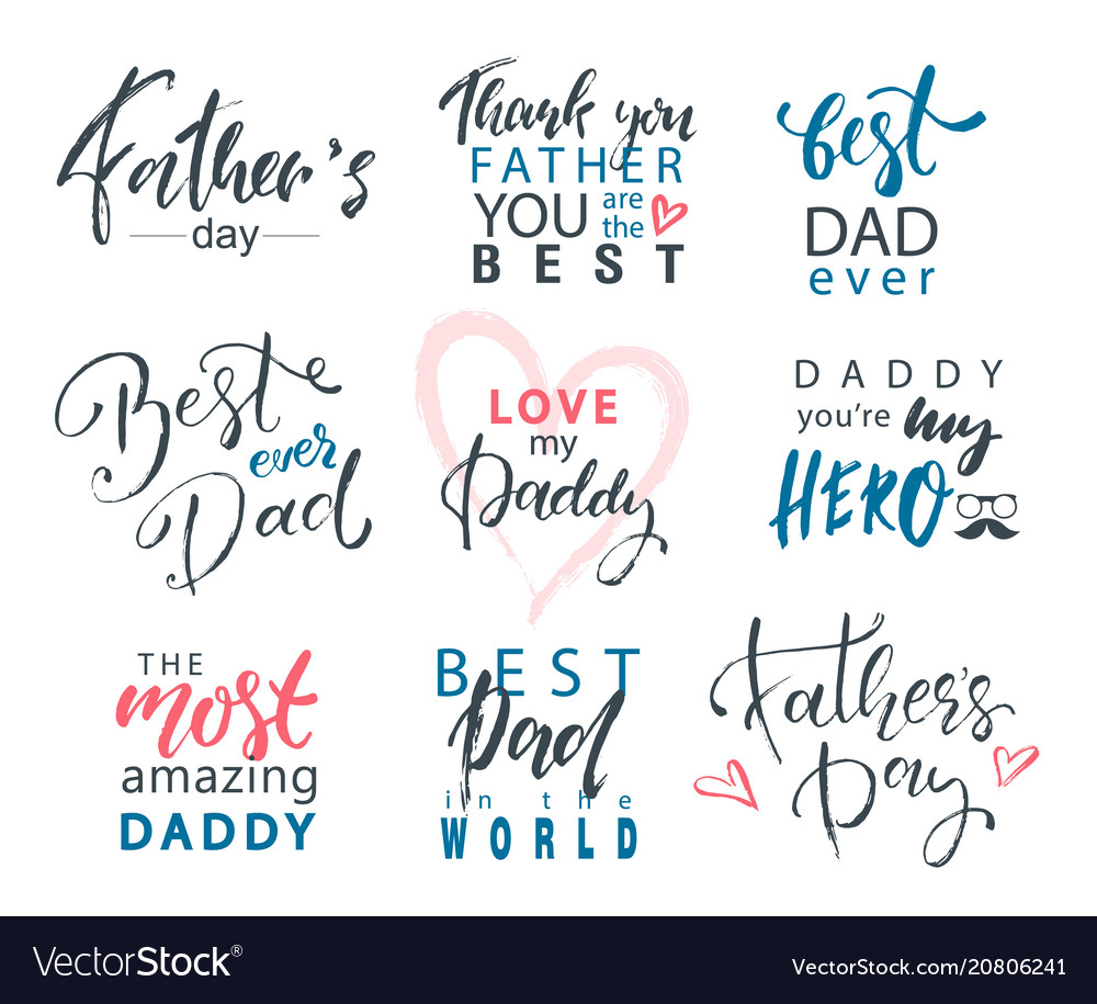 Fathers day lettering calligraphic emblems badges