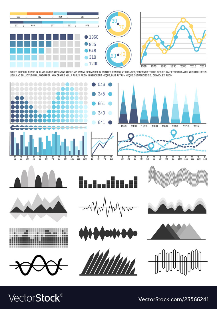 Graphics and flowcharts schemes and charts set