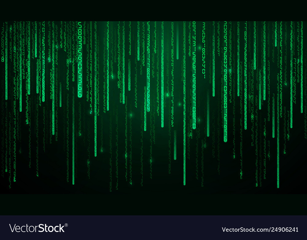 Green matrix numbers cyberspace with green