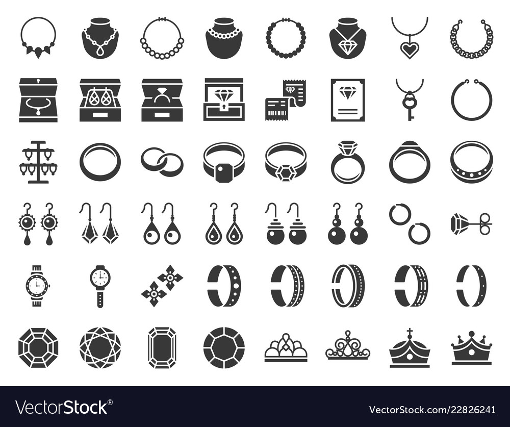 Jewelry and diamond related icon glyph style