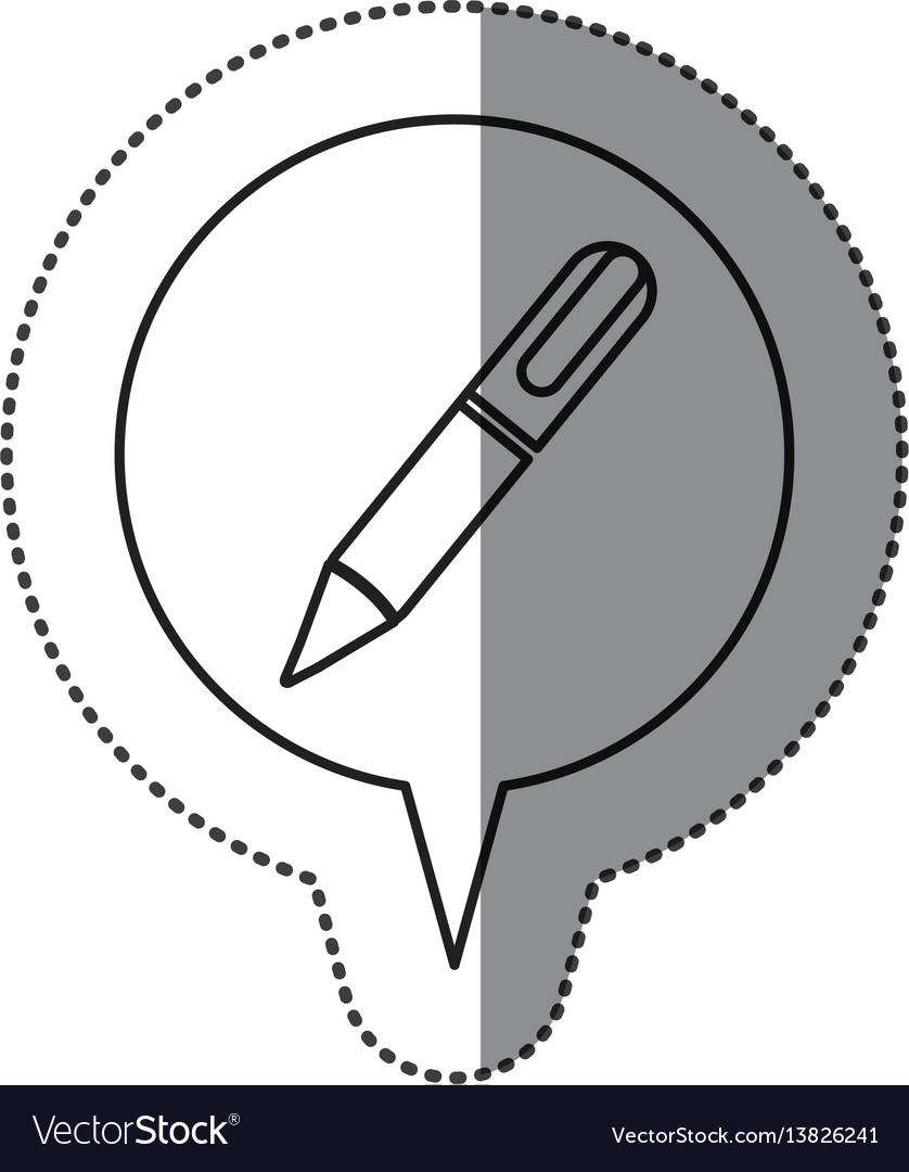 Monochrome contour sticker with pen icon in