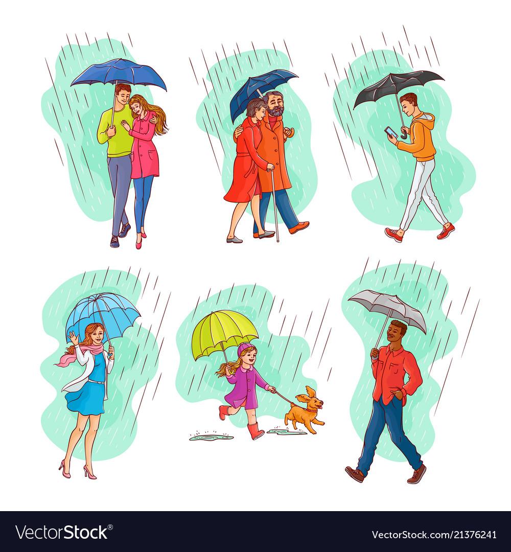 Monochrome people walking rain umbrella