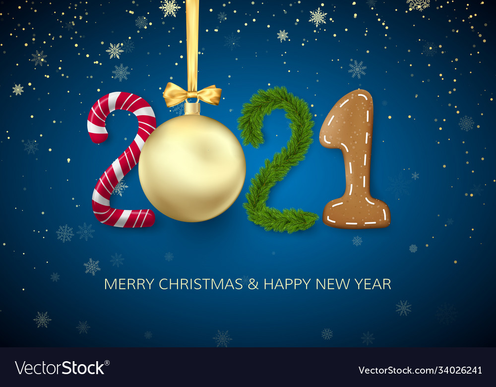 New year 2021 greeting card with 2021 lettering