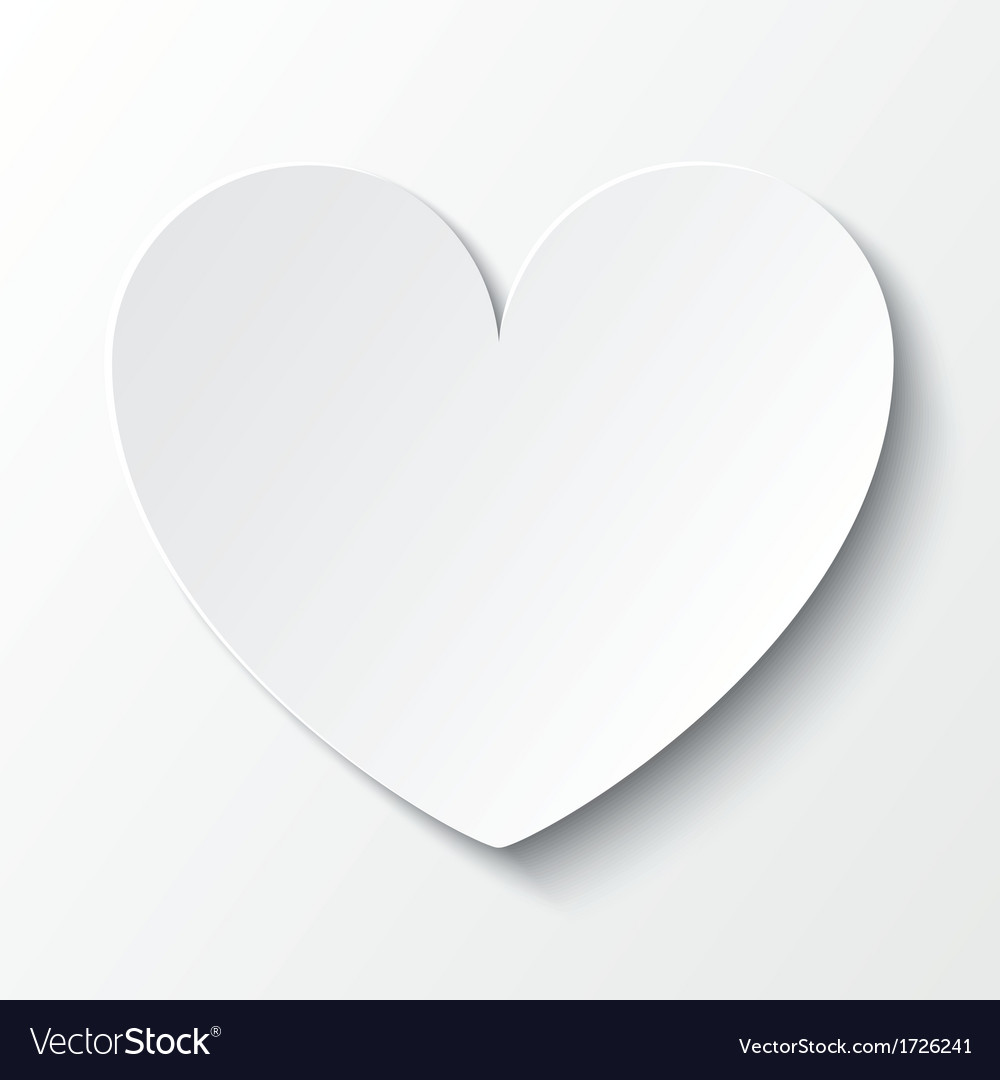 Paper heart Valentines day card on white